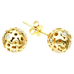 White Diamond 0.42 Carat Sphere Round Ball Shape Stud Earring