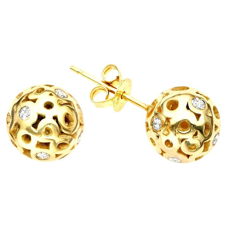 White Diamond 0.42 Carat Sphere Round Ball Shape Stud Earring For Sale