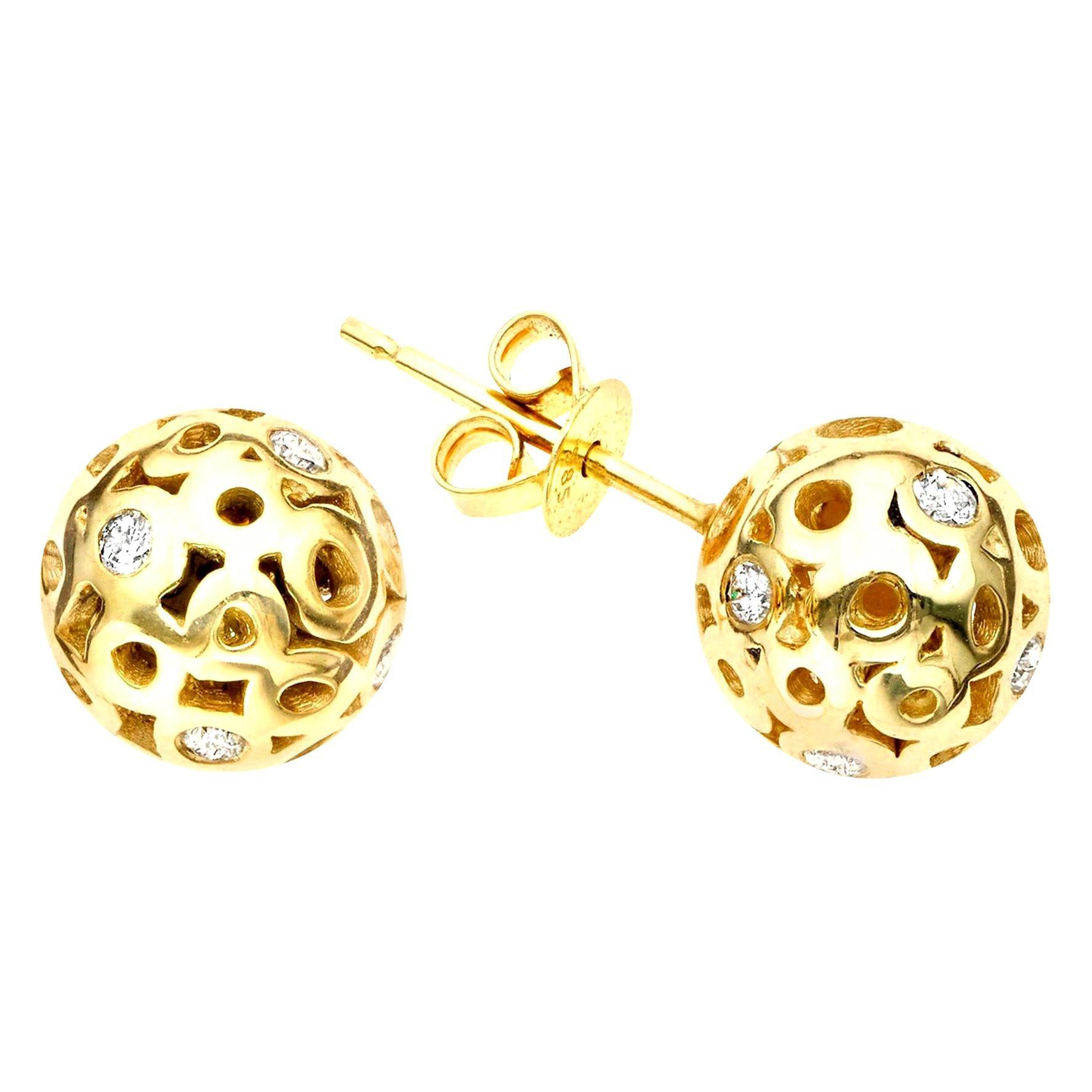 Hi June Parker Gold Ball Shape Stud Earrings with Diamond 0.42 Carat