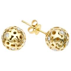White Diamond 0.42 Carat Sphere Round Ball Shape Stud Earring