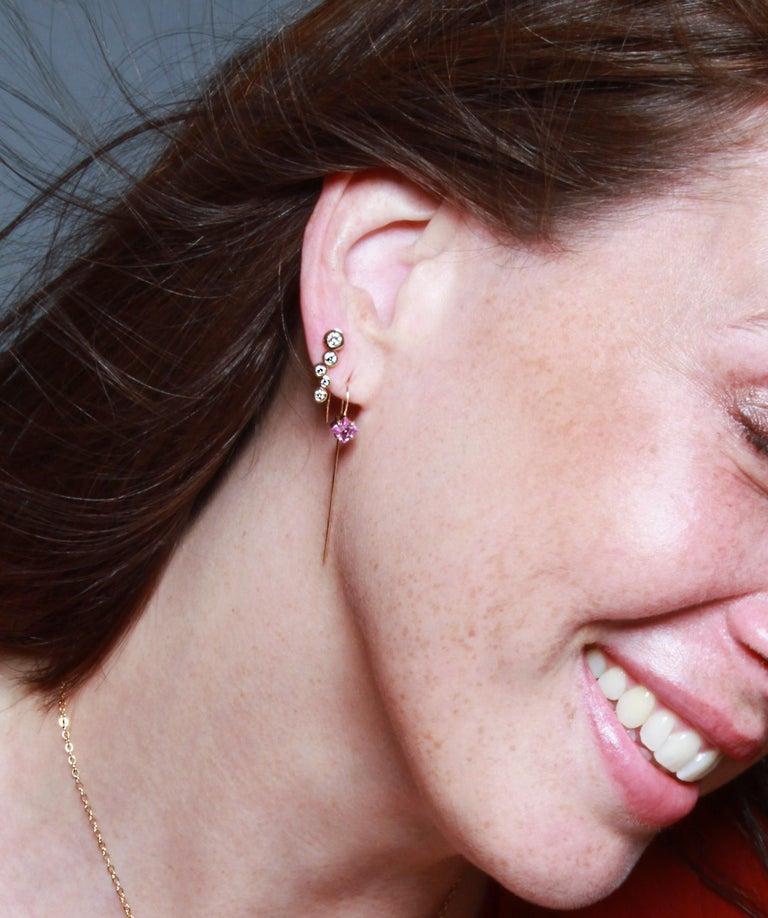 Contemporary White Diamond 0.46 Carat 14 Karat Yellow Gold Earring Climber For Sale