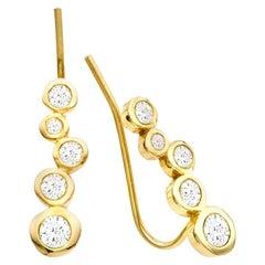 White Diamond 0.46 Carat 14 Karat Yellow Gold Earring Climber