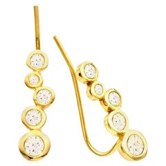 White Diamond 0.46 Carat 14 Karat Yellow Gold Earring Climber