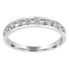 White Diamond 0.50 Carat 14 Karat Gold Bridal Fashion Cocktail Channel Set Ring