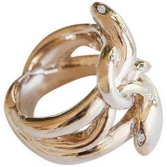 White Diamond 14 karat Gold Snake Ring Victorian Style J Dauphin