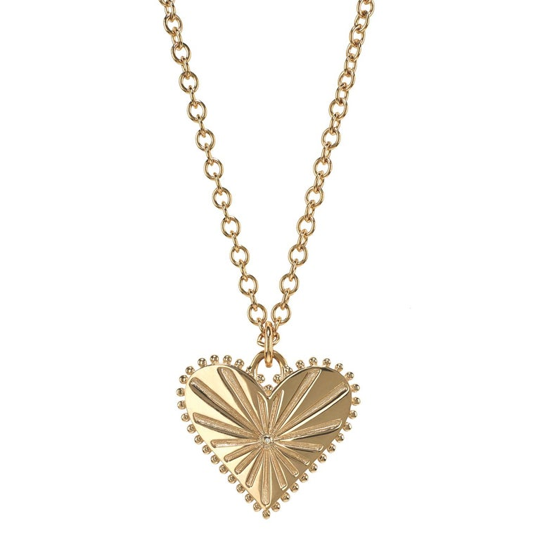 Marlo Laz White Diamond 14 Karat Yellow Gold Heart Coin Charm Necklace In New Condition For Sale In New York, NY