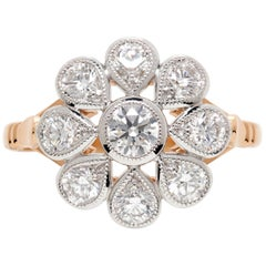 White Diamond 18 Carat White and Rose Gold Dress Ring