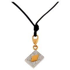 White Diamond 18 Karat Gold Four Card Charm or Pendant Necklace by Crivelli