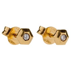 White Diamond 18Kt Yellow Gold Hexagonal Italian Stud Earrings can be bespoked