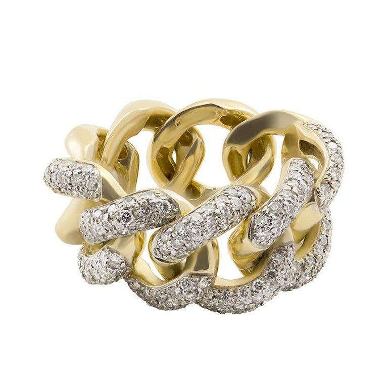 c5a1e27e8 White Diamond 18kt Yellow Gold Interlocking Link Curb Chain Cocktail Ring  For Sale