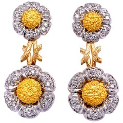 "White Diamond and 18 Karat Gold ""Flower"" Dangle Earrings"