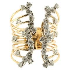 White Diamond and 18 Karat Rose Gold Clam Shell Ring