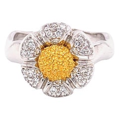 "White Diamond and 18 Karat Yellow Gold or Platinum ""Flower"" Engagement Ring"
