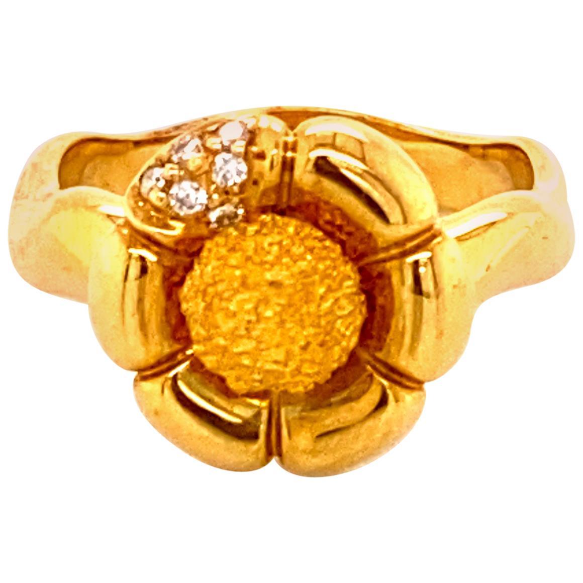 "White Diamond and 18 Karat Yellow Gold/Platinum ""Flower"" Engagement Ring"