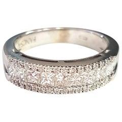 White Diamond and 18 Karat White Gold Ring