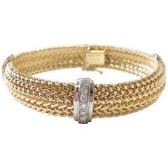 White Diamond and 2-Tone 14 Karat Gold Bracelet