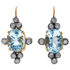 White Diamond and Blue Aquamarine Gold and Silver Antique Style Drop Earrings