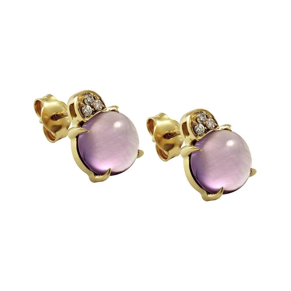 White Diamond and Cabochon Cut Amethyst Stud 18 Karat Gold Italian Made Earrings
