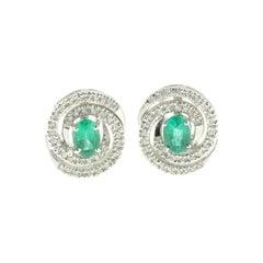 White Diamond and Emerald Earrings in 18 Karat White Gold