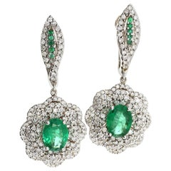 White Diamond and Emerald Earrings in 18 Karat White Gold