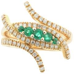 White Diamond and Emerald Ring in 18 Karat Rose Gold