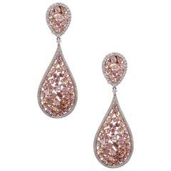 White Diamond and Multi Shape Pink Diamond Tear Drop Cluster Earrings