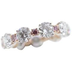 White Diamond and Natural Pink Argyle Diamond Wedding Ring