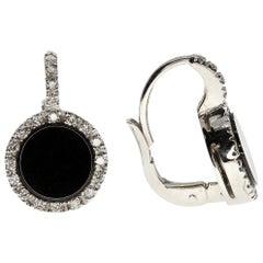 White Diamond and Onyx Earrings