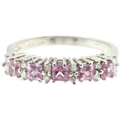 White Diamond and Pink Sapphire Ring in 18 Karat White Gold