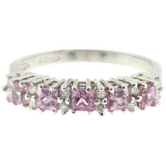 White Diamond and Pink Sapphire-Set Ring in White Gold