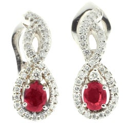 White Diamond and Ruby Drop Earrings in 18 Karat White Gold