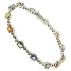 White Diamond and Sapphire, 18 Karat White Gold Tennis Bracelet