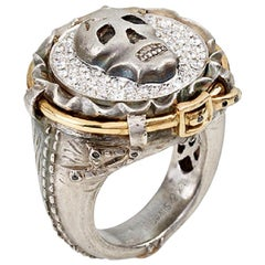 White Diamond and Skull Day of the Dead Jean Ring
