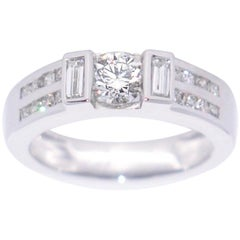 White Diamond and White Gold 18 Karat Engagement Ring