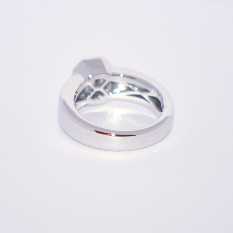 Radiant Cut White Diamond and White Gold 18 Karat Solitaire Ring For Sale