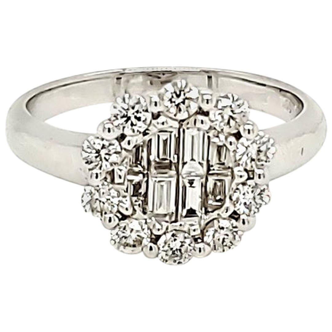White Diamond and White Gold Engagement Ring