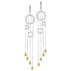 White Diamond and Yellow Diamond Cathedral Drop White Gold Earrings
