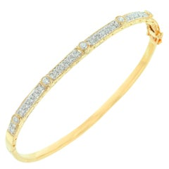White Diamond and Yellow Gold Bangle/Bracelet