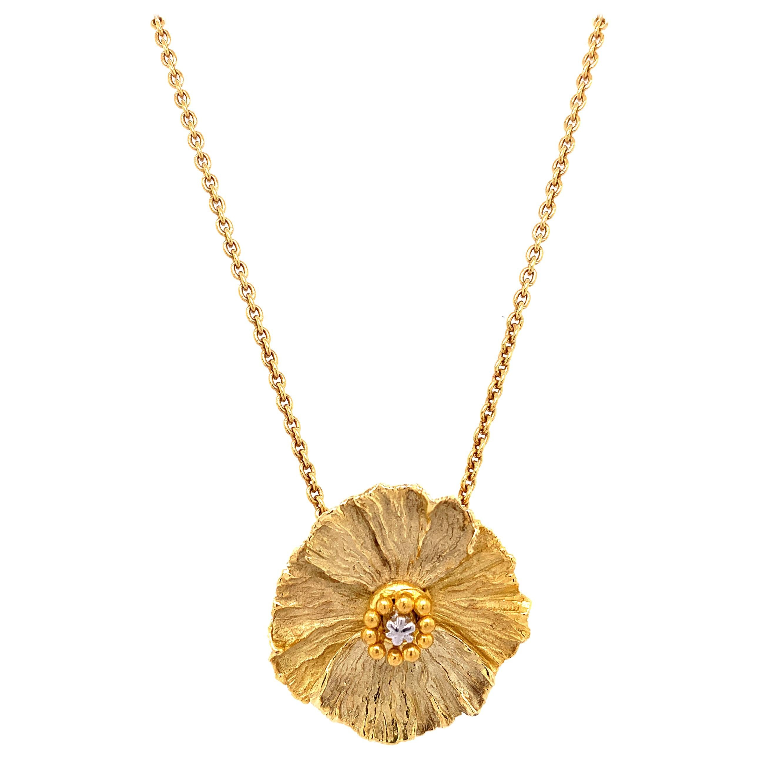 """White Diamond and Yellow Gold """"Flower"""" Pendant Necklace with Gold Chain"""