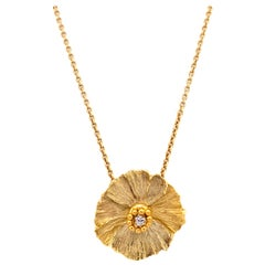 "White Diamond and Yellow Gold ""Flower"" Pendant Necklace with Gold Chain"