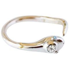 White Diamond Aquamarine Snake Ring Cocktail Ring Gold J Dauphin