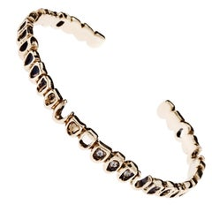 White Diamond Arm Bangle Bracelet Memento Mori Style Bronze J Dauphin