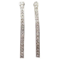 White Diamond Asscher Cut Dangle Earrings in 18 Karat White Gold
