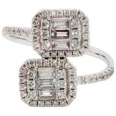 White Diamond Baguette and Round Diamond Bypass Ring in 14 Karat White Gold