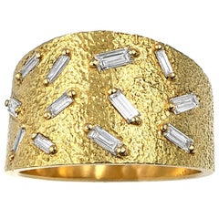 White Diamond Baguette Fine Textured Gold Ice Band Ring