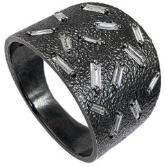 White Diamond Baguette Fine Textured Oxidized Silver Ice Band Ring
