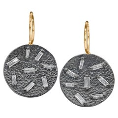 White Diamond Baguette Textured Concave Coin Oxidized Silver Drop Earrings
