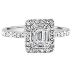 White Diamond Baguettes and Round Diamonds Big Look Halo Fashion Cocktail Ring