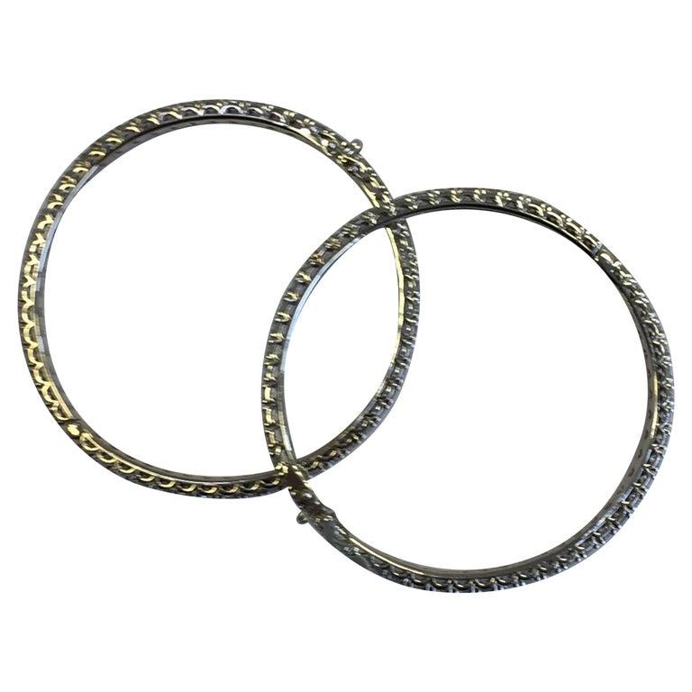 White Diamond Bangle Bracelets in 18 Karat White Gold For Sale
