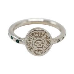 White Diamond Black Diamond Crest Signet Ring Skull Sterling Silver J Dauphin